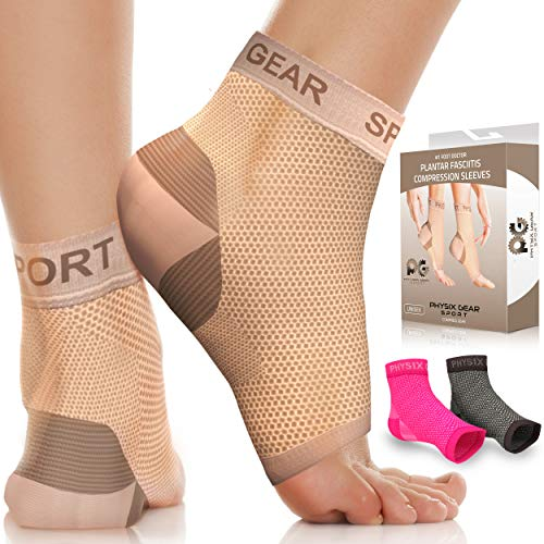 Physix Gear Plantar Fasciitis Socks with Arch Support for Men & Women - Ankle Compression Sleeve, Toeless Compression Socks for Foot Pain Relief, Ankle Swelling - Better than Night Splint, Beige L/XL