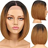 SPOTLIGHT Ombre Brown Short Bob Wigs Human Hair Lace Front Wigs For Women 10 Inch 100% Brazilian Silky Straight Human Hair Bob Wigs 130% Density TT1B/30 Color