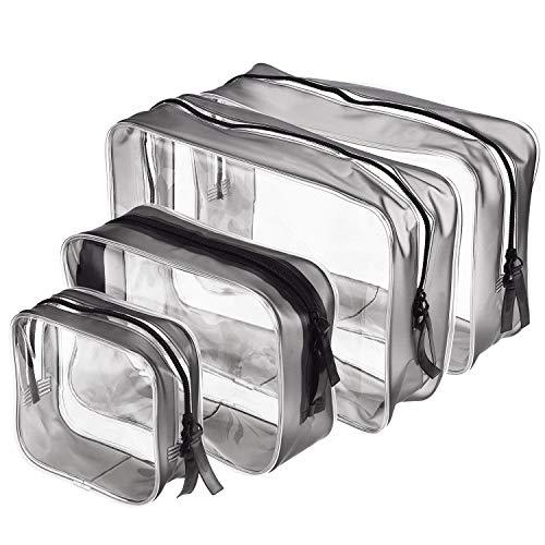 Trousse de Toilette Transparente 4 pièces PVC Trousse de Maquillage Multifonction Sac Cosmétiques Transparent pour Hommes et Femmes