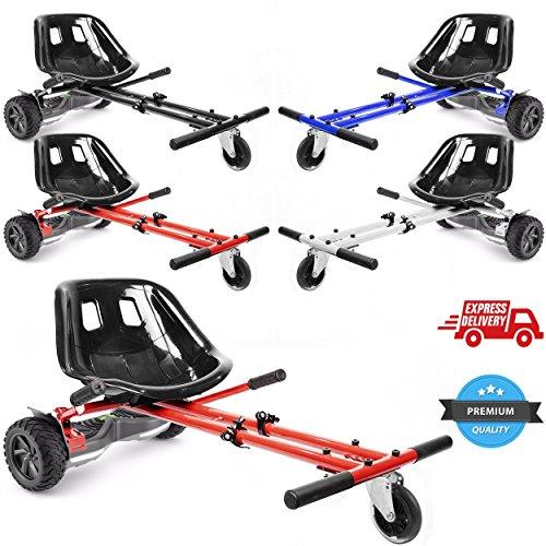 """Ballino, hoverkart regolabile per hoverboard con ruote da 6,5\"""", 8\"""" e 10\"""", accessorio per trasformare gli hoverboard elettrici in go-kart, per adulti e bambini, White"""