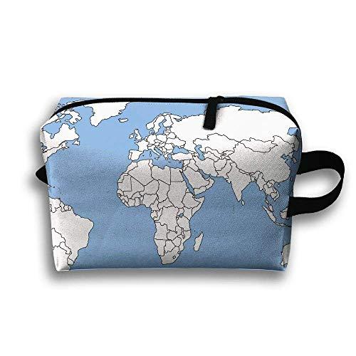 Weltkarte geografische tragbare Reise-Make-up-Tasche, Aufbewahrungstasche tragbare Damen Travel Square Cosmetic Bag