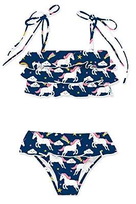 Girls Galaxy Unicorn Swimwear Fashion Dark Blue Bikini Little Girls White Unicorn Swimsuit Set Adjustable Bathing Suit 5-6 Year Girls Beach Outfits