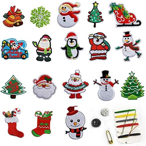 18 aufbügelflicken kinder,Weihnachtspatches,aufnäher Kinder Zum Aufbügeln für DIY Patches zum Aufbügeln Applikation Flicken Zum Aufbügeln Patch Sticker Jeans Kleidung,Weihnachtspatches zum Aufbügeln