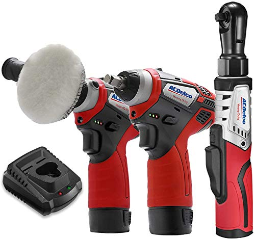 """ACDelco ARW12103-K13 G12 Series 12V Cordless Li-ion 3"""" Mini Polisher, 3/8"""" Impact Wrench & Brushless Ratchet Wrench Combo Tool Kit with 2 Batteries"""