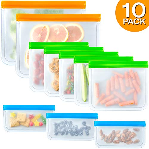 10 Pack Reusable Sandwich Bags FDA Grade Reusable Storage Bags (2 Large 5 Sandwich & 3 Snack Bags), Leakproof Slicone & Plastic Free Lunch Bags, Food Grade PEVA Reusable Ziplock Bags and Snack Bags