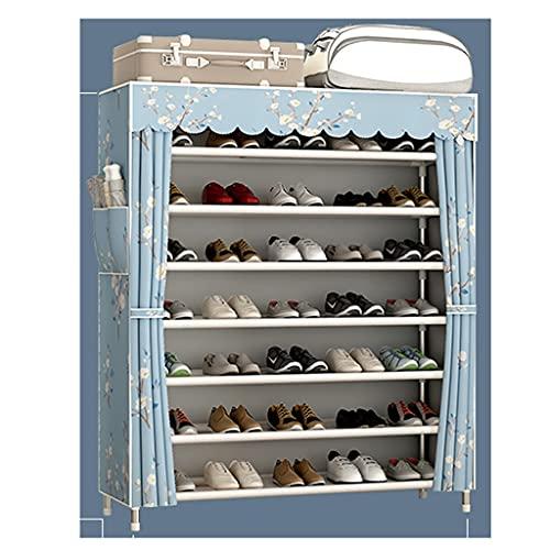 QIFFIY Zapatero con tapa de almacenamiento y organizador de almacenamiento de tela Oxford que ahorra espacio en el armario de zapatos (color cielo estrellado)