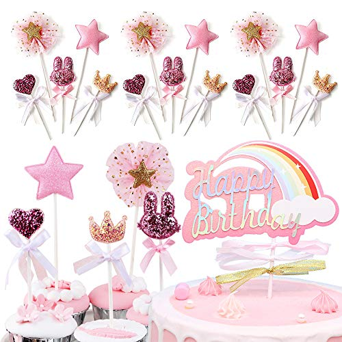 Iwilcs 21pcs Deco Cake Topper Cake Topper Birthday Wedding Cake Toppers Cupcake Cup Cakes Kit Princess Cake Baby Shower Party Pink