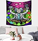Newunccolor Rick-Morty Poster Tapestry Wall Hanging Funny Tapestries Home Decoration Wall Blanket Dorm Living Room Bedroom 50x60 Inch Pink