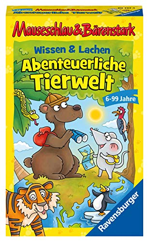 Ravensburger 20737 - Wissen und Lachen - Abenteuerliche Tierwelt, Mauseschlau & Bärenstark für Kinder, Kinderspiel für 2-4 Spieler, Quiz ab 6 Jahren