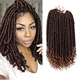 Zhen show Crochet Goddess Locs Braids Straight Hair Curly Ends Synthetic Faux Locs Crochet Braiding Hair Extensions African Hairstyles Bohemian Havana Mambo Twist Locs (18' 3Packs T1B/30)