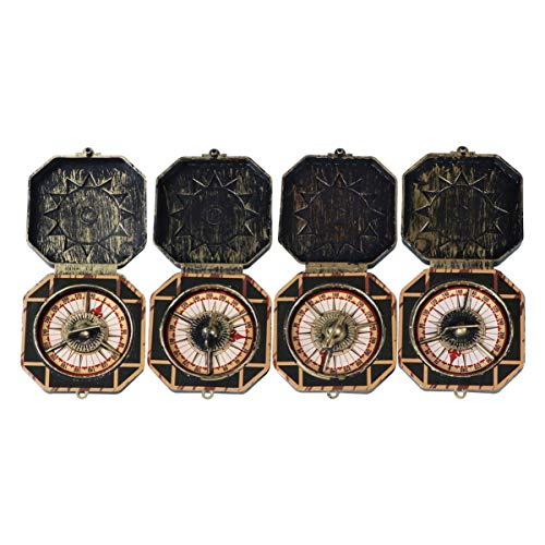 SUPVOX 4pcs Christmas Pirate Compass Toy Antique Captain Compass Toy Brass Pocket Compass Marine for Children Halloween Party Christmas (Bronze)