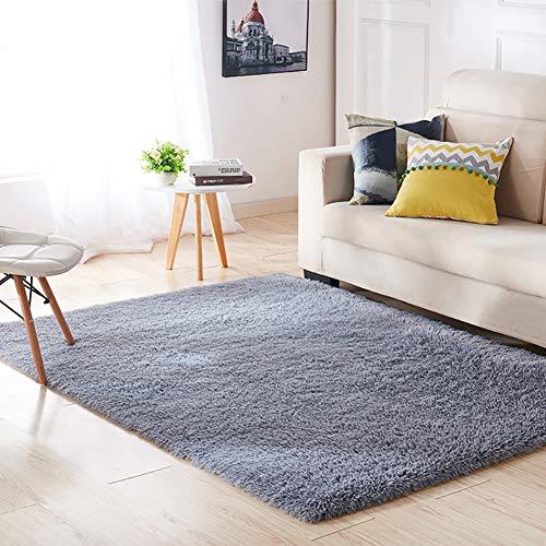 Aicehome Area Rug,Soft Bedroom Rug,Fluffy Thicken Anti-slip Bottom for Home Dining Room Bedroom,Shag Plush Children Kids Nursery Rugs Floor Carpet 4 Feet by 5.3 Feet (Gray)