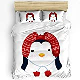 IMUSEN 4 Piece All Season Bedding Sets Include Bedspread Comforter Cover and Pillow Shams, Christmas Penguin with Hat - Queen Size, Microfiber No-Fade Lightweight Comforter Set