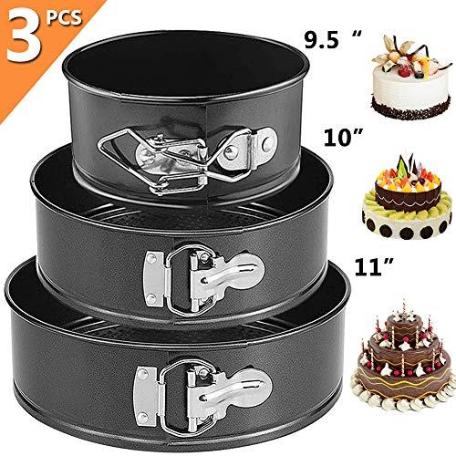 FANDE Tortiera Rimovibile, Antiaderente Teglia da Forno Rotonda Torte in Acciaio al Carbonio Cake Pan Cheesecake Pan Set Springform Cake Pan Ideali per Feste e Matrimoni (7' 8' 9')