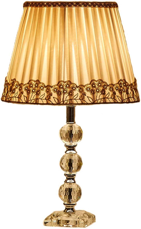 ventas calientes KJUHVBF Lámpara de de de Mesa Cristal Tela clásica Ojos de Ahorro de energía para el Dormitorio Estudio Sala de Estar  punto de venta de la marca