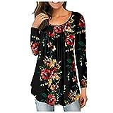 Blusa de túnica plisada con cuello en V para mujer, blusa Henley, camisas sueltas con volantes y botones para arriba, C-negro Rojo, XL
