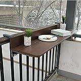 Mesas auxiliares para exteriores Mesa de terraza plegable para balcón Mesas de café para balcón ajustables Imitación de madera, Escritorio para computadora portátil Barandilla de patio portátil Mesa