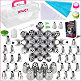 RFAQK- 90 Pcs Russian piping tips set with storage case - Cake decorating supplies kit - 54 Numbered easy to use icing nozzles (28 Russian + 24 Icing + 1 Ball tip) - Pattern chart, EBook User Guide
