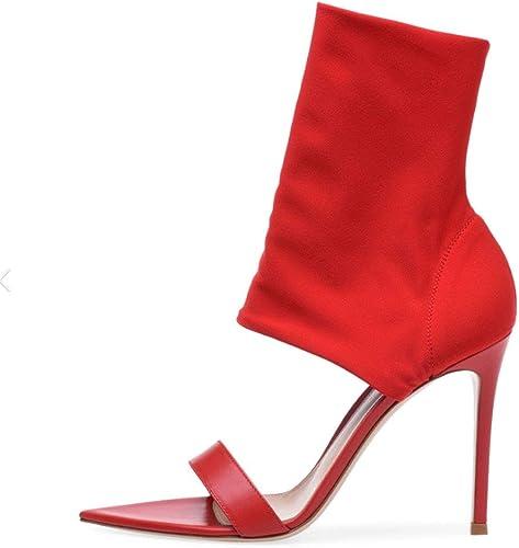 DCYU Bottes élastiques élastiques Bottines Femme Talons Hauts Sandales à Bout Ouvert (Couleur   Rouge, Taille   36 FR)  bienvenue pour acheter