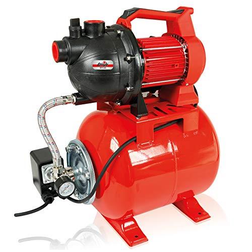 Grizzly Hauswasserwerk 800 Watt - Wasserpumpe - Ansaugtiefe 8 m - max. 3,8 bar Förderdruck – 3000 l/h Förderleistung - 38 m Förderhöhe - 19 Liter Druckkessel