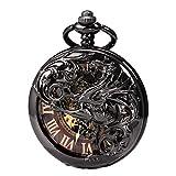 Reloj de bolsillo unisex Treeweto con cadena, analógico, cuerda manual, doble bisagra, diseño de dragón antiguo, esqueleto negro, vetas de madera