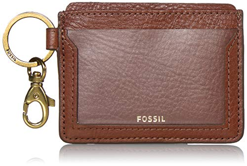 Fossil Women's Lee Leather Card Case Wallet, Brown