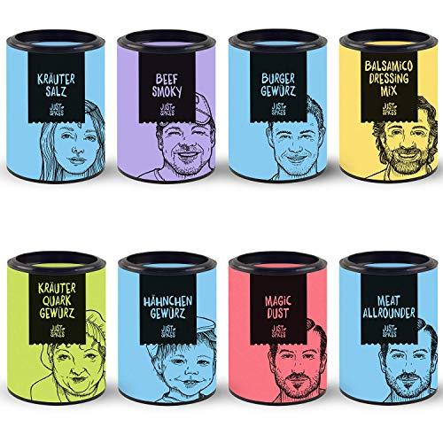 Just Spices 8er Grill Gewürze Set | BBQ Geschenkset in schöner Holzbox | 8 verschiedene Grillgewürze und Rubs | Geschenk für Männer und Frauen