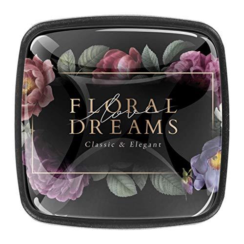4 pomos de cajón de cristal con tornillos para el hogar, la oficina, el armario, el armario, los sueños florales, fondo oscuro, 01