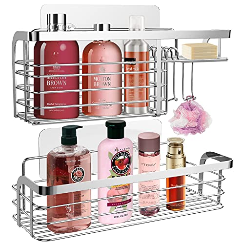 2 Pack Adhesive Shower Caddy Shelf,Shower Organizer Rack with Hook,Stainless Steel Bathroom Organizer Basket for Shampoo Conditioner Holder,Silver