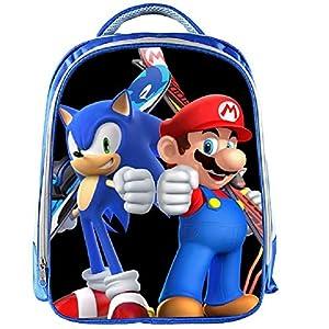 MIAOGOU Mario Bros Pegatinas 13 Pulgadas Mario Mochila Niños Dibujos Animados Mochilas De Niños Niñas Escuelabag para…