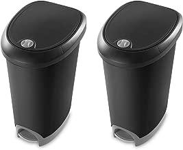Sterilite 12.6 Gallon Locking StepOn Wastebasket, Black (2 Pack) | 10739002
