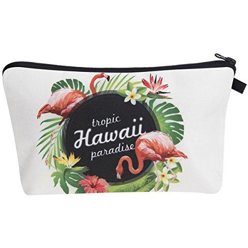 PREMYO Kosmetiktasche Klein für Handtasche - Schminktasche Damen Make Up Tasche - Federmappe Mädchen Etui Flamingo