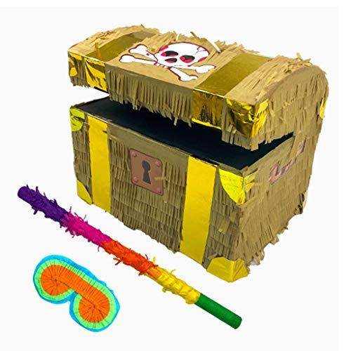 Pinata Einzigartige Party - Piraten-Schatztruhe Pinata, Pinata Fortune-Box Pinata for Geburtstags-Party, Schatzkiste Pinata Neujahr, Weihnachten, Feste, Halloween (Color : Treasure chestpinata)