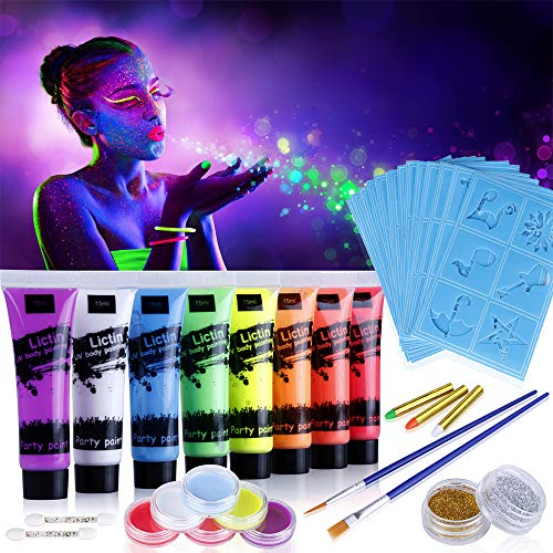 Lictin Vernice Fluorescente Colorato,Neon Kit per Pelle Viso Corpo,Fluo Party UV Body Painting,8 Vernice Fluorescente,6 Truccabimbi,4 Pennelli,3 Paste