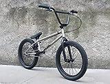 SWORDlimit 20インチBMXバイク(初心者から上級ライダーまで) 高炭素鋼フレームおよびフォーク 3セグメント8キークランククランクセット 後輪9歯フライ,グレー