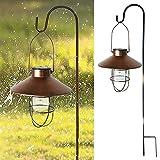 Tglabayun Linterna solar Luz impermeable para jardín al aire libre, luces colgantes Lámpara de metal con energía solar en forma de paraguas vintage, para decoración de patio, jardín, arte