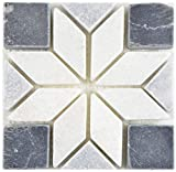 Piedra natural decorativa de mosaico, antracita, negro y blanco, para decoración de pared o baño