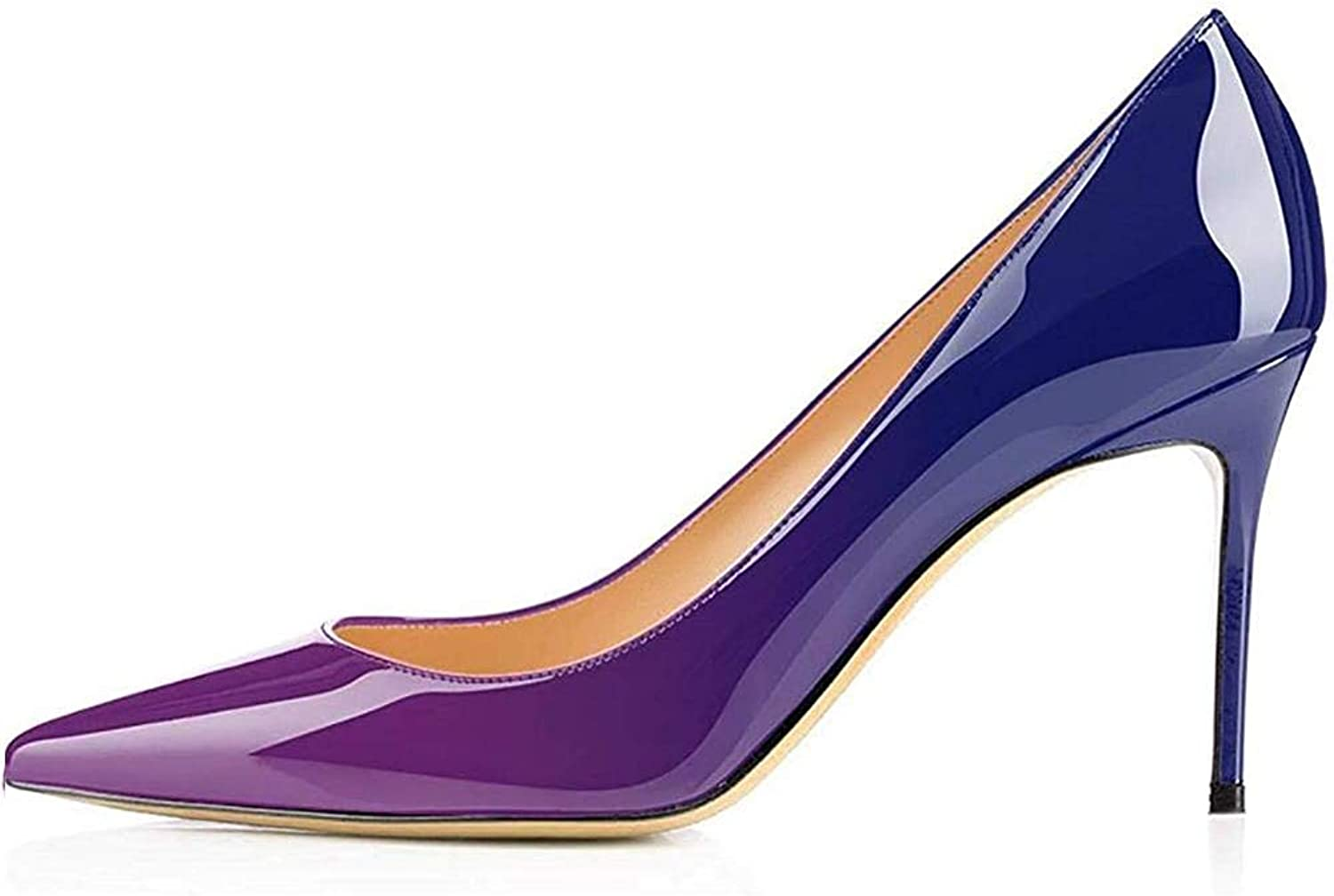 Kmeioo Middle Heels, Women's Sexy Stiletto shoes Pointy Toe Slip-On Office Pumps for Party Dress