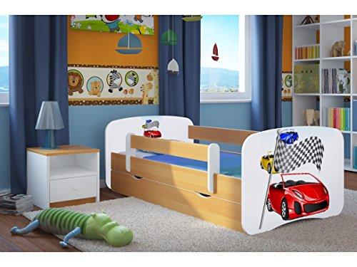 Kinderbett Ferrari 80 cm x 160 cm mit Sicherheitsgitter + Lattenrost + Schubladen + Matratze gratis - Eiche hell