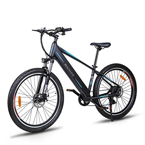 Macwheel 27.5' Electric Mountain Bike, Rear Hub Brushless 500W, Removable 480Wh 48V/10ah Lithium Battery, Shimano 7-Speed, Suspension Fork, Tektro Dual Disc Brakes, Mountain eBike Black