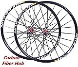 CDFC Rueda de Bicicleta MTB Set 26/27,5/29 Pulgadas Pared Delantera y Dos Ruedas traseras Llantas Freno de Disco 8-11s Fibra de Carbono Hub 24H QR,Red hub Wheel Set,27.5inch
