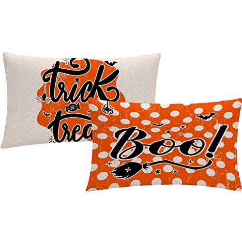 Juego de 2 fundas de almohada para Halloween, color naranja