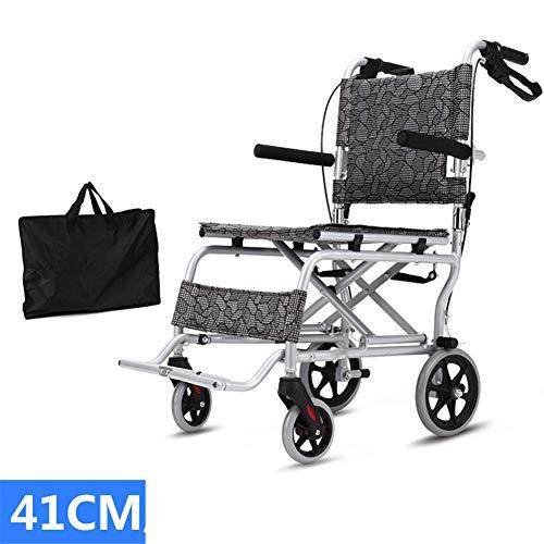 QINAIDI Faltender Leichter Aluminiumlegierungs-Reiserollstuhl, ultraleichter tragbarer Transport-Rollstuhl,41cm