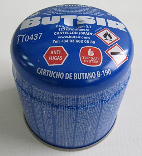 Cartucho de gas 190 gr – bombona perforable con limitador de fugas – botella camping gas - garantía y calidad Butsir