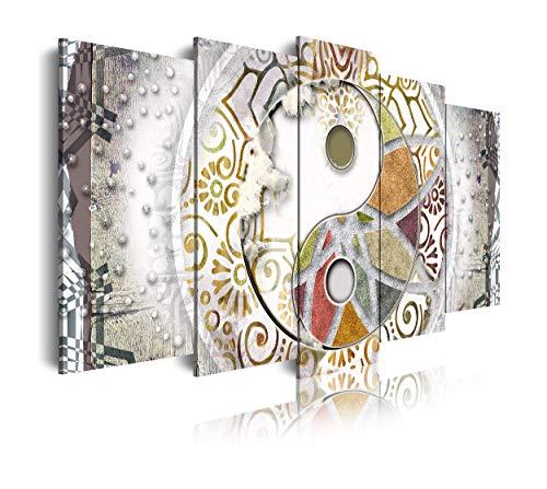 DekoArte 529 - Cuadros Modernos Impresión de Imagen Artística Digitalizada | Lienzo Decorativo para Tu Salón o Dormitorio | Estilo Ying Yang Abstractos Zen Colores Blanco Plata | 5 Piezas 150 x 80 cm