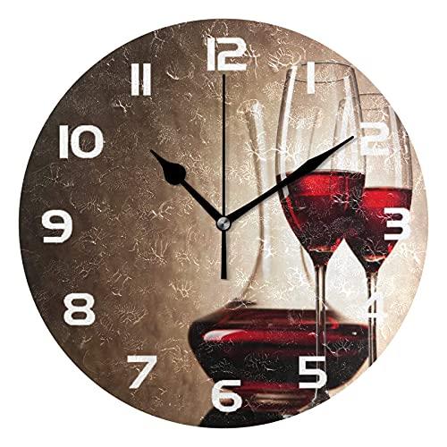 MMBY Vintage vino tinto vidrio sala de estar dormitorio fácil de leer reloj decoración creativo doble propósito reloj arte silencioso no escala ronda reloj