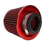 Filtro de aire del coche, equipo universal del filtro de aire del coche del flujo alto del filtro de aire de la cabeza de la seta del hierro del coche(rojo)