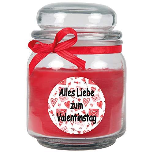 HS Candle Vela perfumada para el día de San Valentín en tarro de caramelos (con tapa) – Regalo ideal para el día de San Valentín para él y ella, varios diseños a elegir