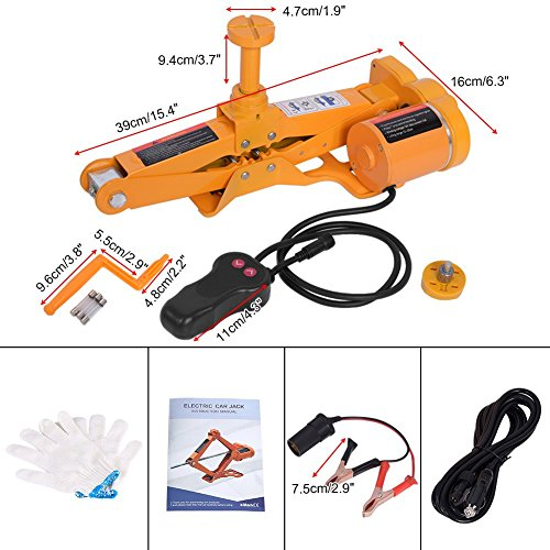 Zerone Automotive Electric Car Jack,3 Ton 12V DC Automotive Car Jack Lifting Tire Wheel Repair Changing Kit SUV Van and Emergency Equipment with Case