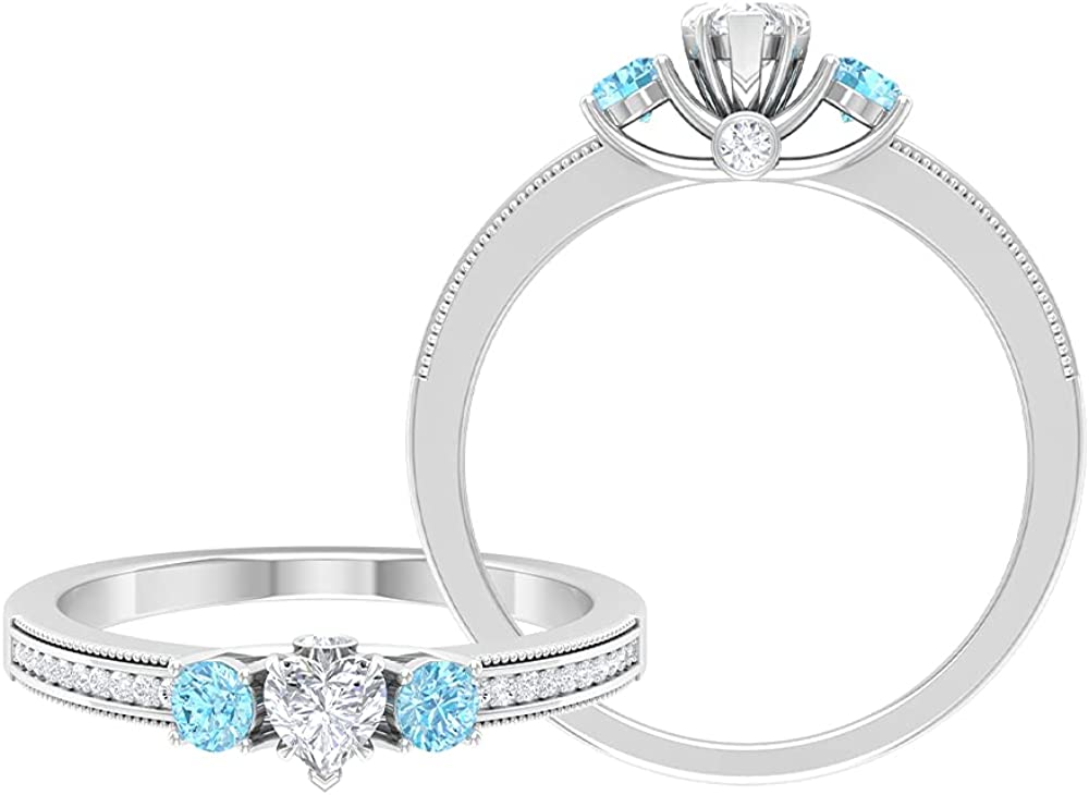 3 4 CT Luxury Three Stone Anniversary with and Diamond Created Ring Aqu Max 68% OFF